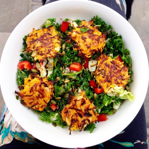 Kale Salad with Sweet Potato Hash Browns - Choosingchia