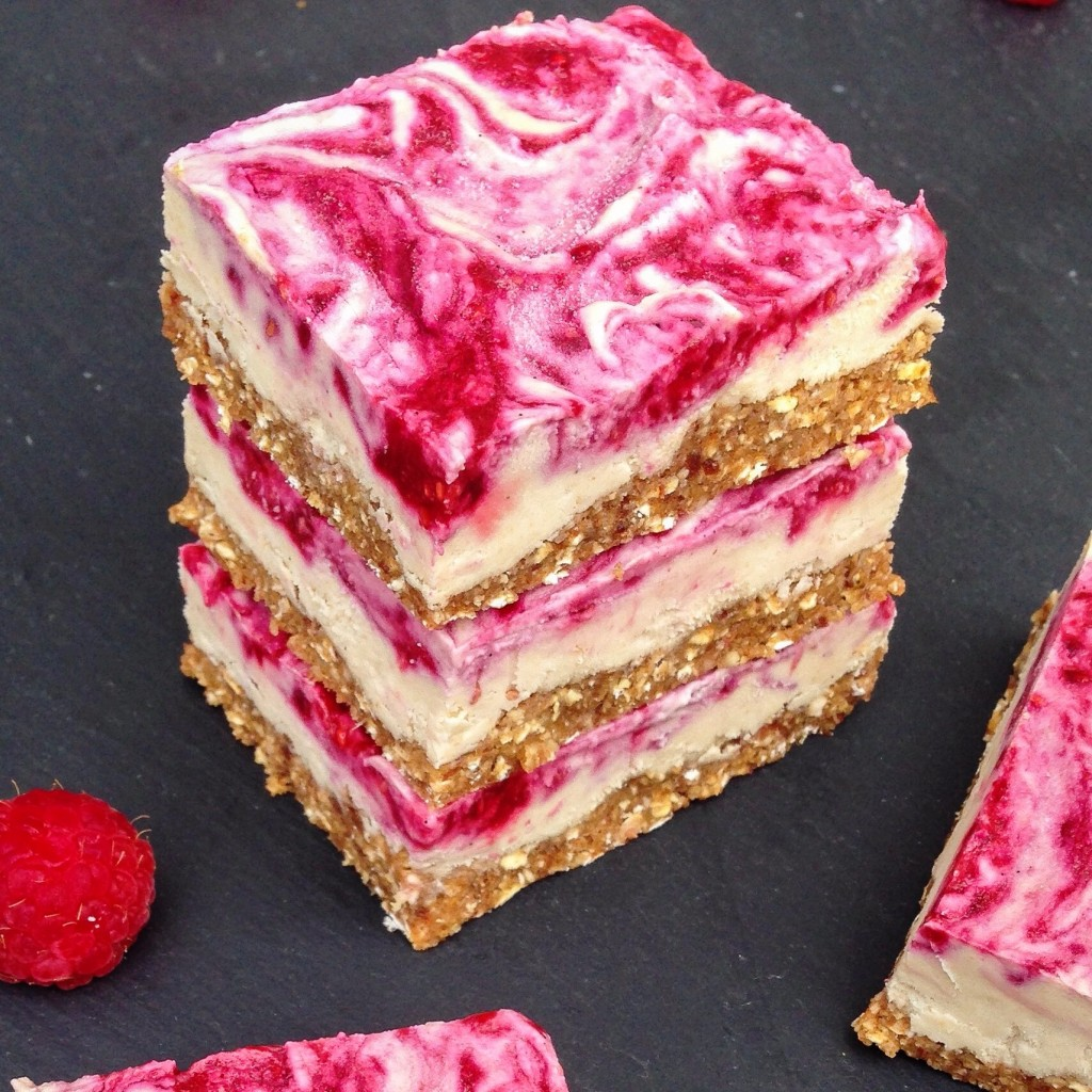 vegan raspberry cheesecake bars| healthy dessert| plant-based dessert