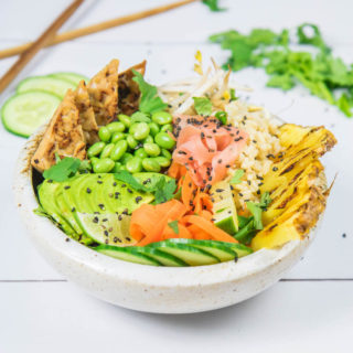 Ginger tempeh poke bowl with grilled pineapple