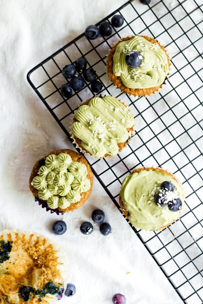 matcha frosted blueberry coconut cupcakes