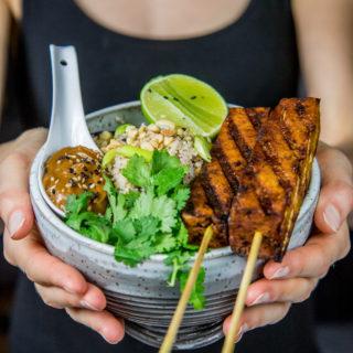 Tofu satay with cauliflower fried rice