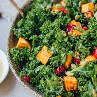 Kale salad with roasted sweet potato and cranberries