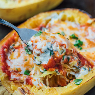 Vegetarian lasagna stuffed spaghetti squash