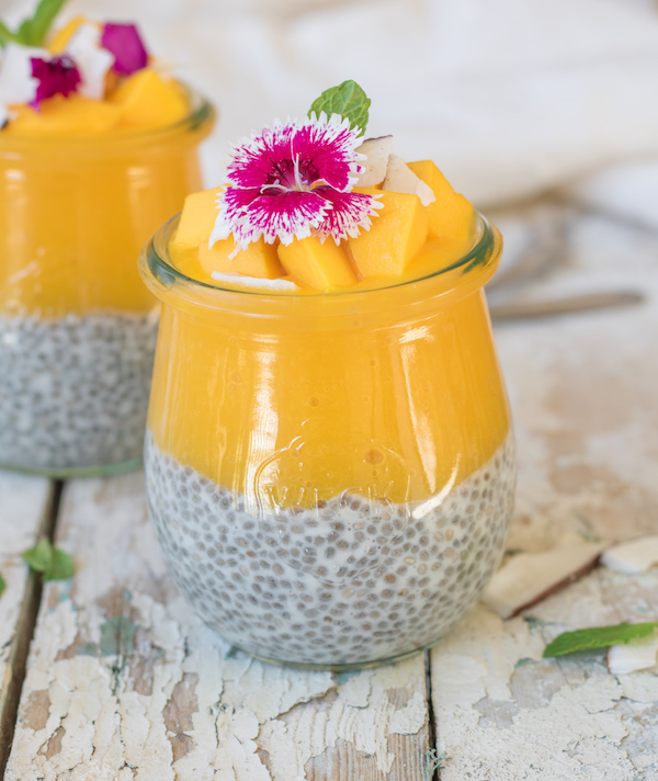 coconut chia pudding with mango puree