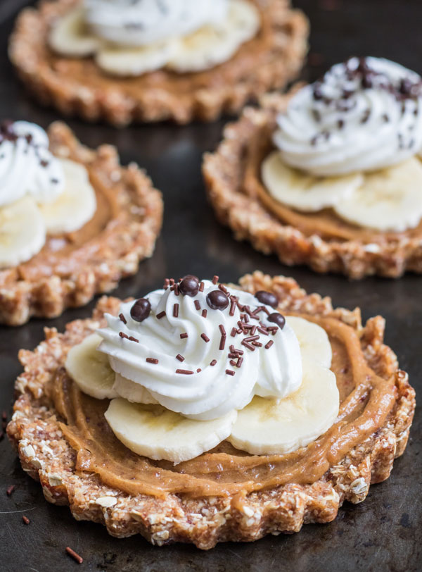 Raw peanut butter banoffee tarts