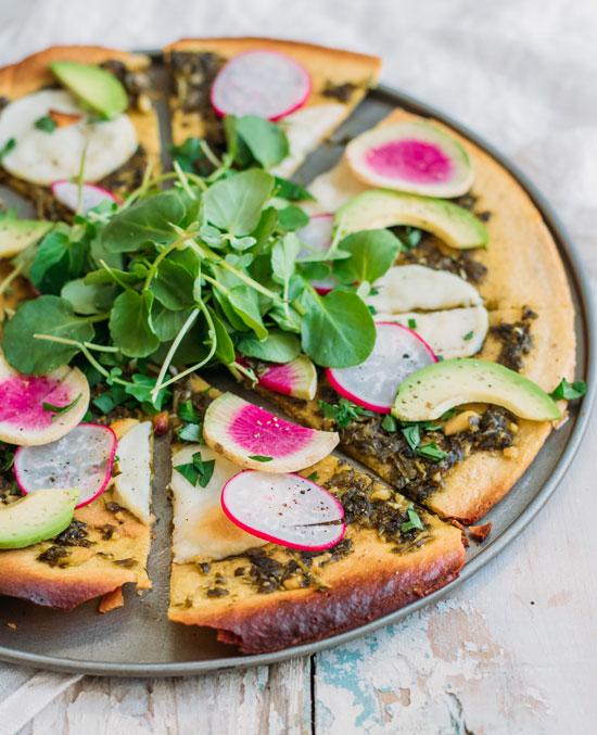 chickpea crust pizza with walnut pesto