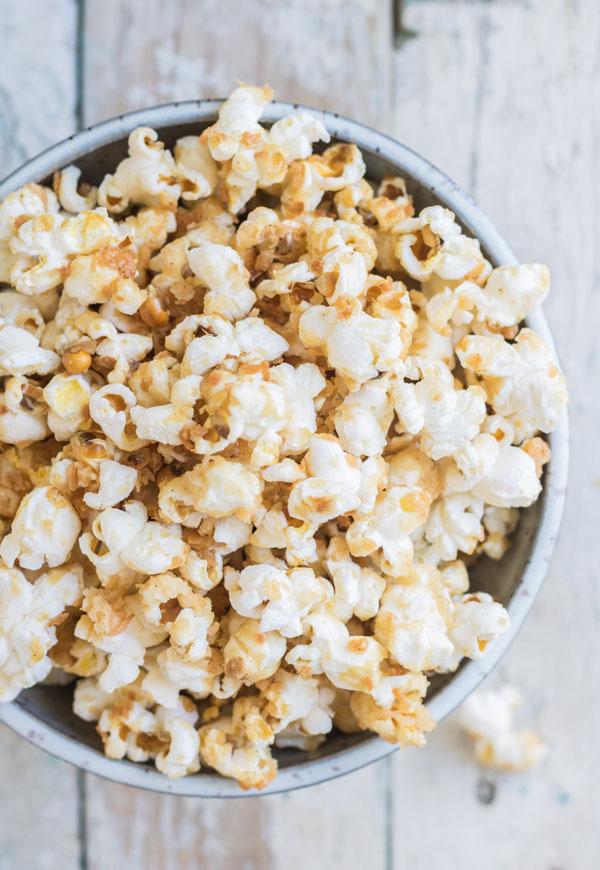 Salted caramel coconut popcorn
