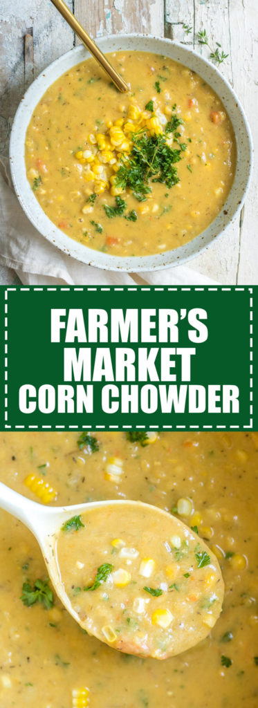 Choosingchia.com  This farmer's market corn chowder is loaded with fresh veggies from the market! I love this healthy soup!