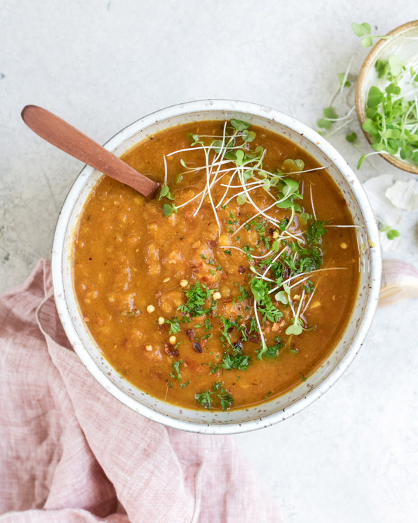 Spiced carrot, lentil and sweet potato soup