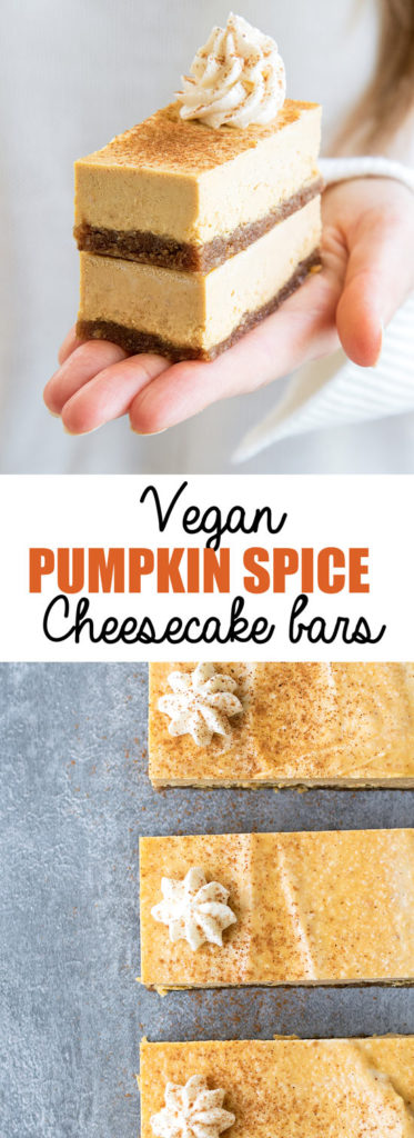Choosingchia.com| These vegan pumpkin spice cheesecake bars are the perfect Fall treat! They're also gluten-free, refined-sugar free, and made with natural ingredients! #pumpkinspice #vegan