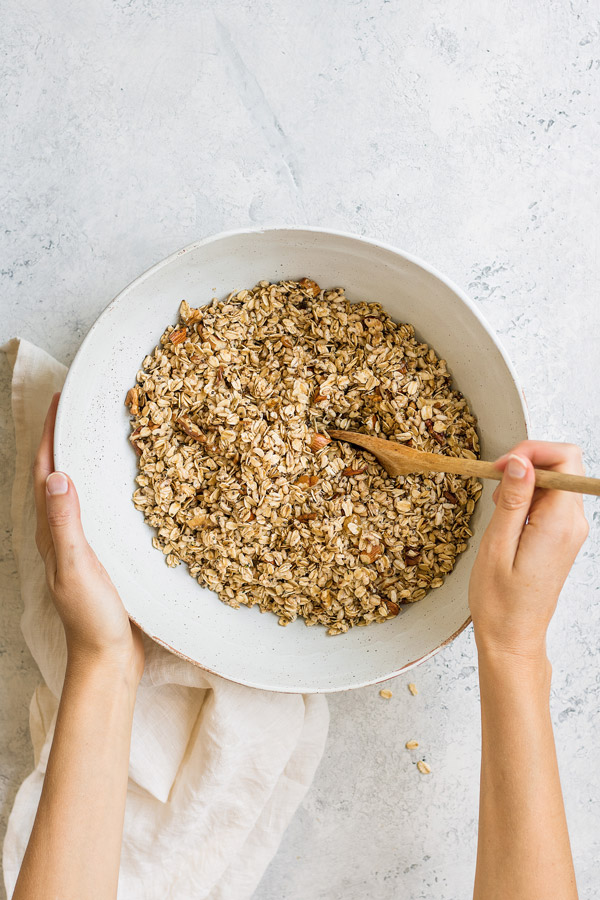 This homemade rise and shine breakfast granola is a healthy vegan breakfast that is loaded with superfoods! It's easy to make, and delicious!