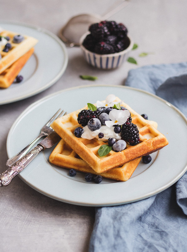 This recipe for healthier Belgium waffles is an easy and healthy option for breakfast or brunch!
